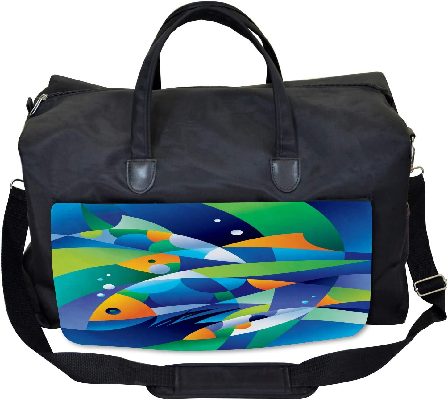Large Weekender Carry-on Ambesonne Abstract Art Gym Bag Fishes Underwater
