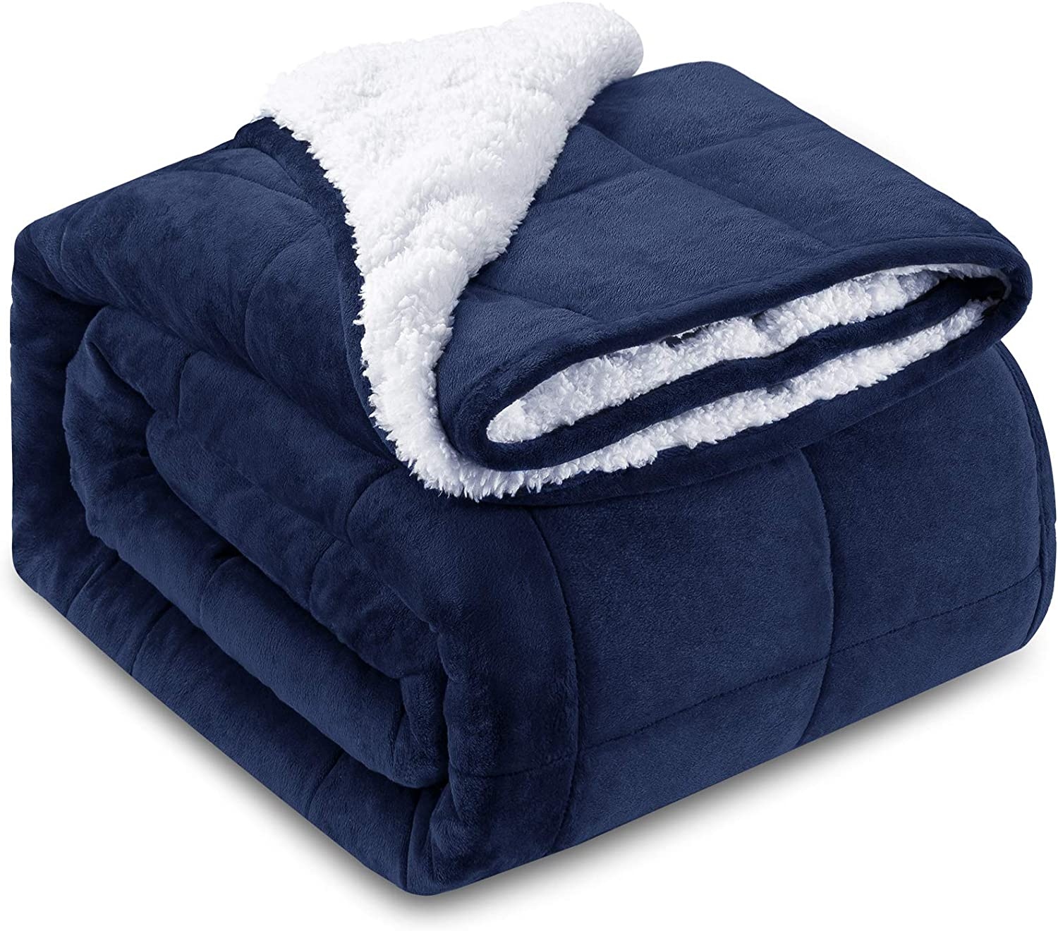 """HBlife Sherpa Fleece Weighted Blanket for Adults, Oeko-Tex Certified 20 lbs Thick Fuzzy Bed Blanket, Heavy Reversible Soft Fleece Blanket with Premium Glass Beads 88"""" x104"""", Navy Blue"""