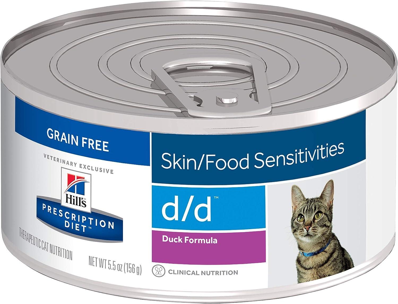Hill's Prescription Diet d/d Skin/Food Sensitivities Duck Formula Canned Cat Food, Veterinary Diet, 5.5 oz, 24-pack wet food