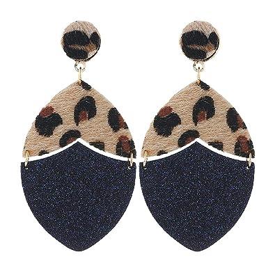Leather Earrings Bohemian Animal Print Teardrop Petal Leaf Dangle Earrings for Women Girls