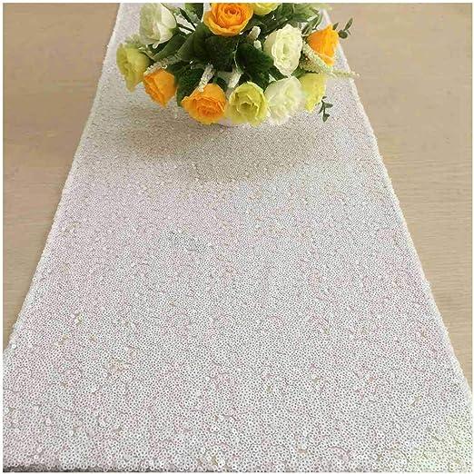 mesa de lentejuelas tessel del corredor 30x180cm Wei/ß ShinyBeauty Reflejo de plata Shinybeauty
