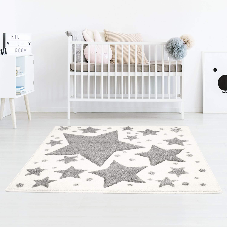 Taracarpet Kinderzimmer und Jugendzimmer Teppich Dreamland Kinderzimmerteppich Sterne grau Creme Creme Creme 120x120 cm rund B07N7V6H8L Teppiche ce92ce