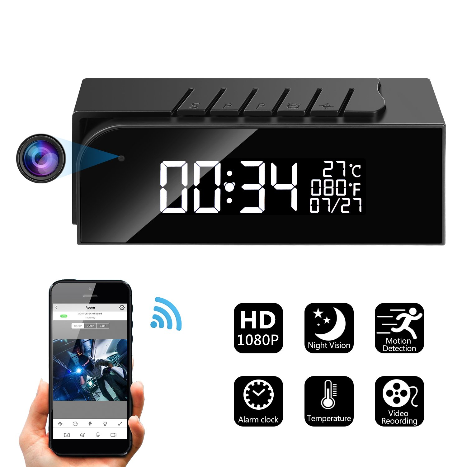 Hidden Camera Alarm Clock Spy Camera WiFi Cameras Wireless Mini Nanny Cam Motion Detection Home Surveillance Security Super Night Vision Temperature ...