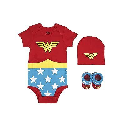 DC Comics Baby Girls Superman, Flash, Batman 3-pc Set in Gift Box, Wonder Woman red, 0-6: Clothing