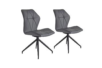 CAVADORE Stuhl 2er Set INDIRA / 2x Esszimmerstühle 360° drehbar / on