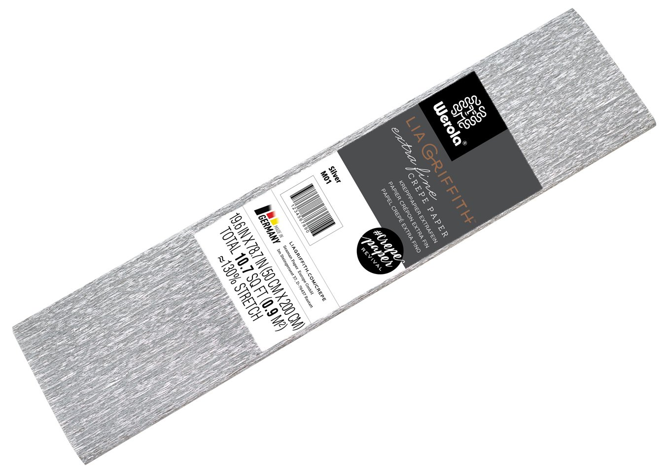 Lia Griffith Metallic Crepe Paper Roll, 10.7-Square Feet, Silver (LG11001)