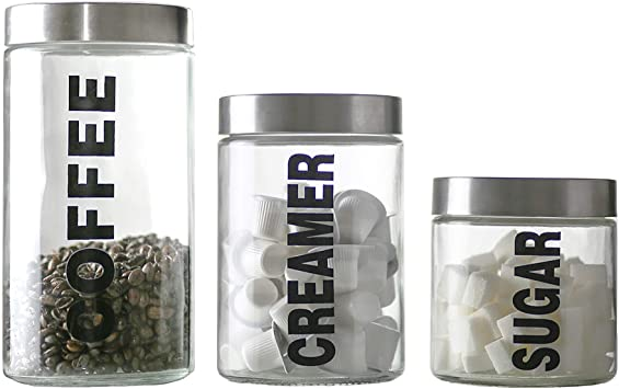 KMwares Glass Food Jars, Clear Storage Containers with Stainless Steel Lid, Airtight Glass Canisters Set for Coffee, Creamer and Sugar Set of 3 w Stainless Steel Lids((Sizes/57/44/29 oz)