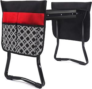 UHINOOS Garden Kneeler and Seat-Foldable Garden Bench Garden Stools with 2 Tool Pouches, Portable Garden Kneeling Pad EVA Foam Pad(Black&Red)