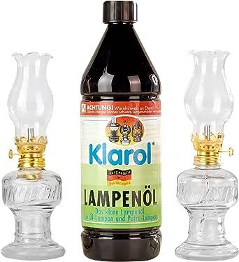 2 lámparas de aceite de cristal con casquillo giratorio dorado de 21 cm en juego con aceite para lámparas Klarol de 1 l.