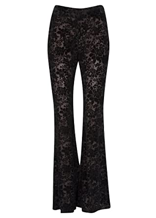 b39e7a4095836d Glam and Gloria Womens Black Floral Burnout Velvet Boho Flared Bell Bottom  Pants – Size Small