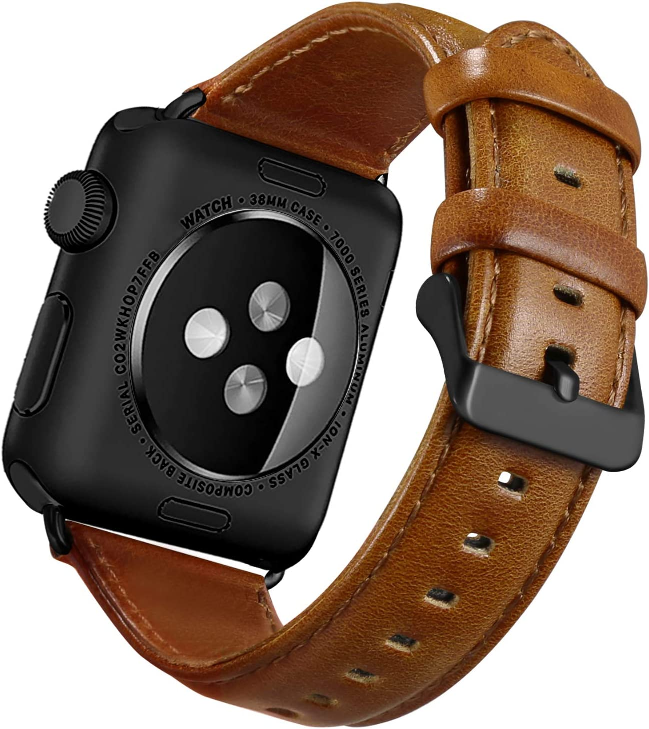 UMAXGET Compatible with Apple Watch Series 3 Band 44mm 38mm 40mm 42mm, Classic Genuine Leather Replacement Bands with Black Buckle Connector Compatible with iWatch Series 5/4/3/2/1 for Men Women(38mm/40mm, Light Brown)