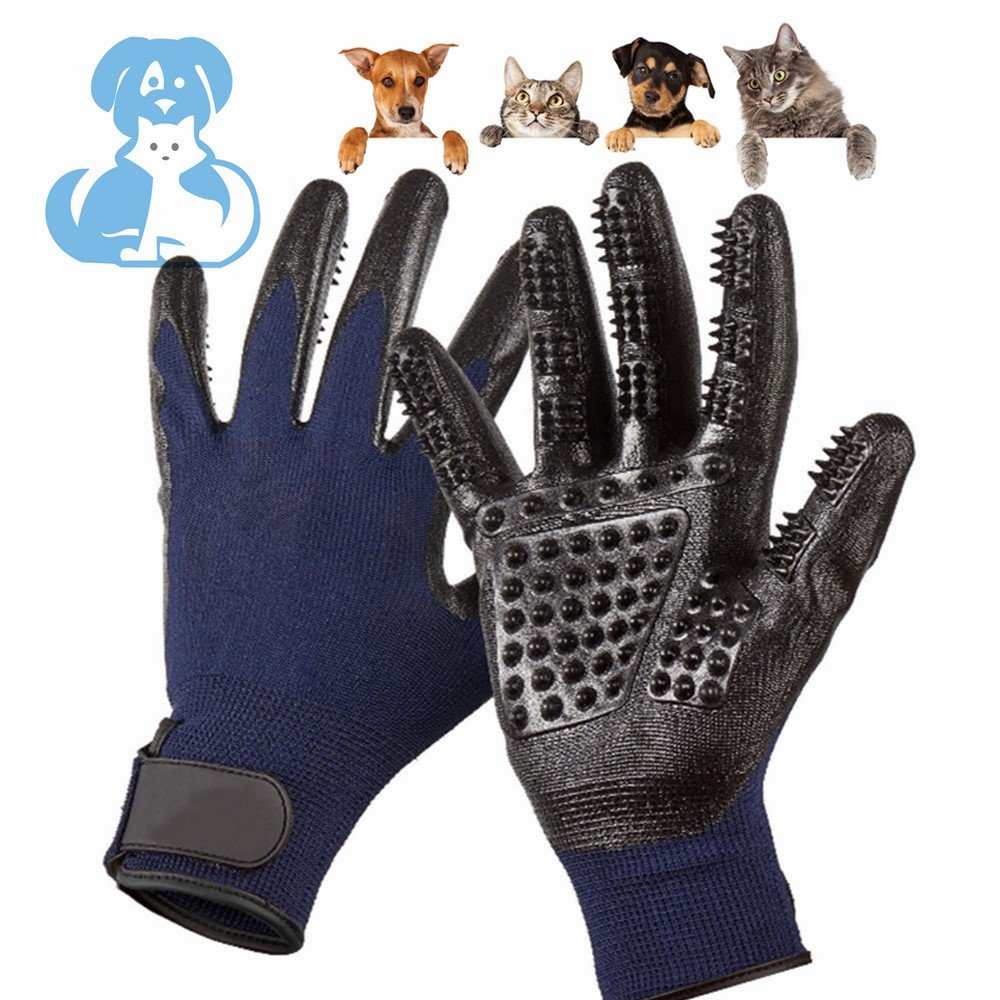 Pet Deshedding Glove|Cat Dog Grooming Gloves|Pets Hair Brush Remover Mitt|Enhanced ninja glove Five Finger Design Perfect for Cats Dogs Horses with Long & Short Fur Shedding, Bathing, Massaging.
