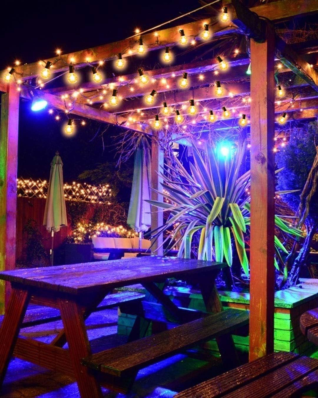 Guirnaldas luminosas de exterior,G40 Vintage Edison Bulbs 30 Enchufes Colgantes, Luces Colgantes de Interior/Exterior para Patio, Jardín, Patio ...