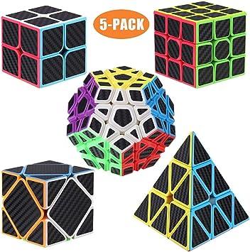 ROXENDA Cubos de Velocidad, [5 Pack] Speed Cube Set de 2x2 3x3 Pirámide Megaminx Skew Cube Pegatina de Fibra Carbono Magic Cube Colección Rompecabezas Juguete: Amazon.es: Juguetes y juegos