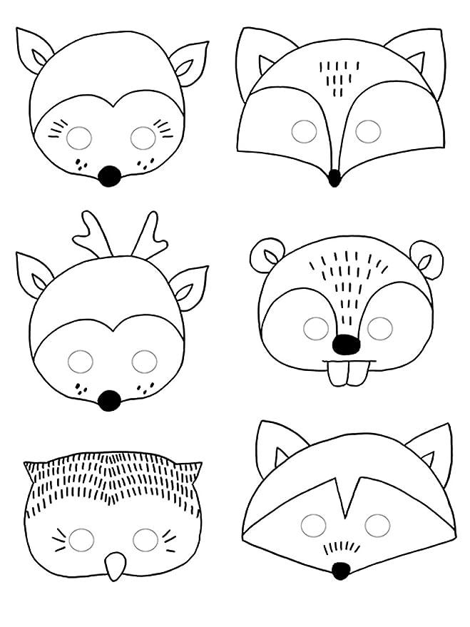 6 máscaras de colorear tema Bosque Talla única: Amazon.es: Juguetes y juegos