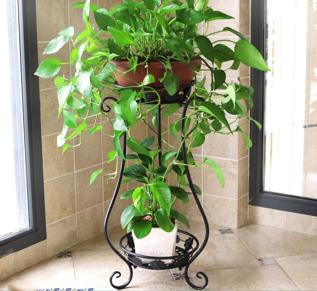 &Pot rack Flower Stand Wrought Iron Flower Stand Multilayer Balcony Living Room Interior Ground Plant Stand Small Decorative flower pots (Color : A) LYM