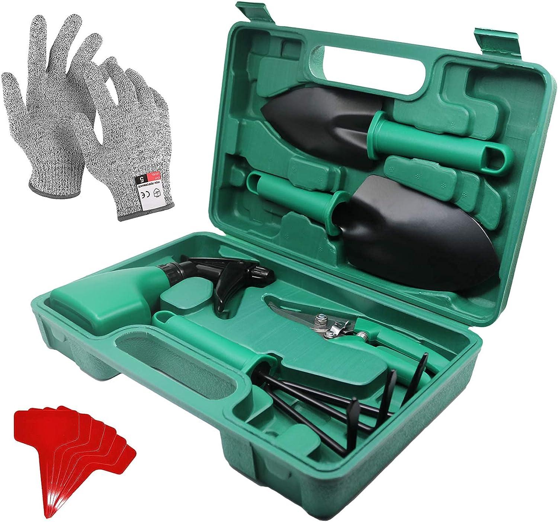 LANPOXLON Garden Tools Set 8 Pieces Heavy Duty Garden Supplies with Carrying Storage Case Weeder Pruner Sprayer Transplanting Spade Rake Trowel Anti-Cutting Gloves Gardening Hand Tools