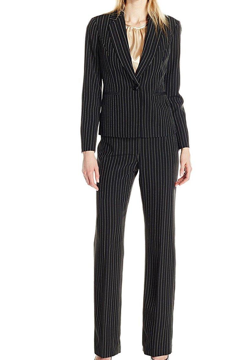 LeSuit Womens Pinstripe 1 Button Pant Suit with Cami Le Suit Women' s Suits 50035925-T61