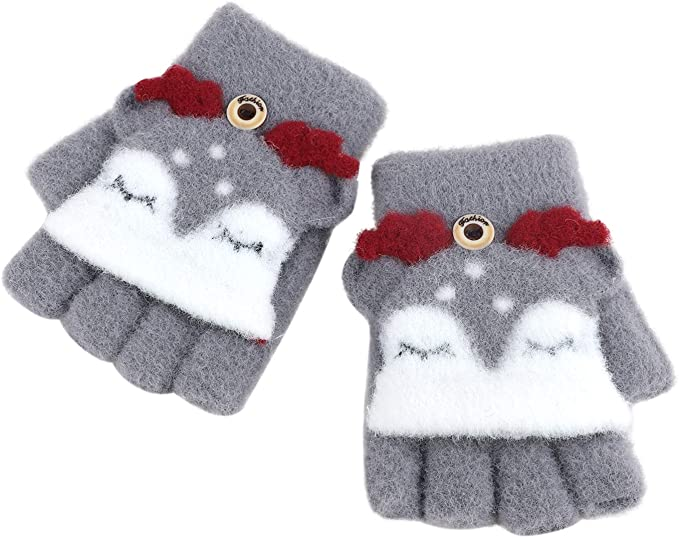 2 Pairs Toddler Girls Winter Thermal Gloves with Flip Top for Cold Weather Gift