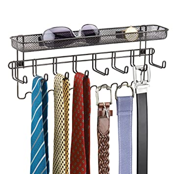 Amazon.com: MDesign Closet Organizer Rack With Shelf For Ties, Belts   Wall  Mount, Bronze: Home U0026 Kitchen