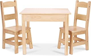 Melissa u0026 Doug Solid Wood Table and 2 Chairs Set - Light Finish Furniture for Playroom  sc 1 st  Amazon.com : kids wooden table set - pezcame.com
