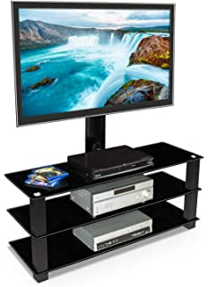 Amazon Com Floor Tv Stand With Mount And Glass Shelves Tv Mount