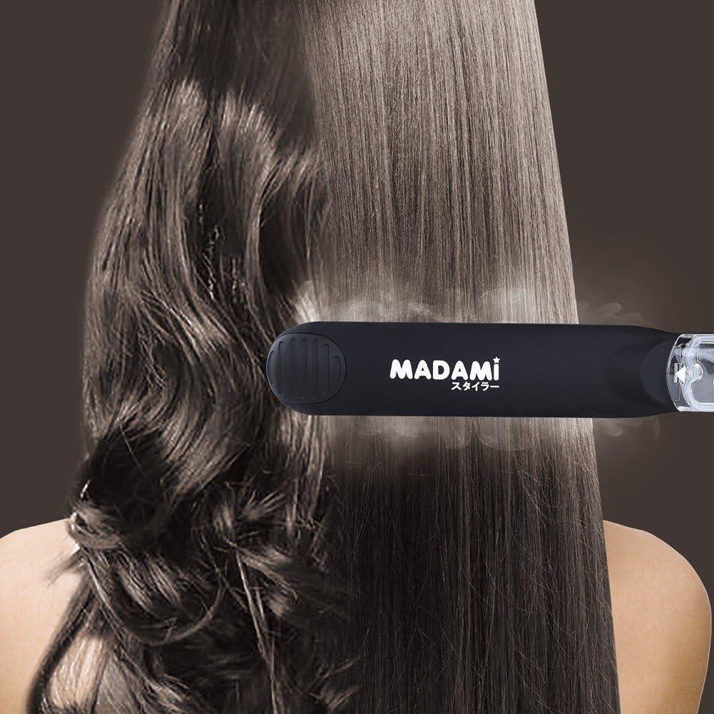madami Profi Glätteisen Dampf Haarglätter Lockenstab mit Keramik Turmalin von 1 14 Daumen geeignet für Pflege von Dampf schmelzendem Arganöl,