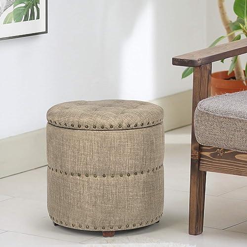 Joveco Storage Ottoman Nailhead Button Tufted Fabric Bench, Beige