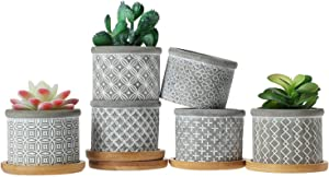 T4U 2.5 Inch Cement Succulent Pot with Bamboo Tray, Small Grey Concrete Planter Garden Cactus Plant Herb Container for Home and Office Decoration Birthday Wedding Gift Pack of 6