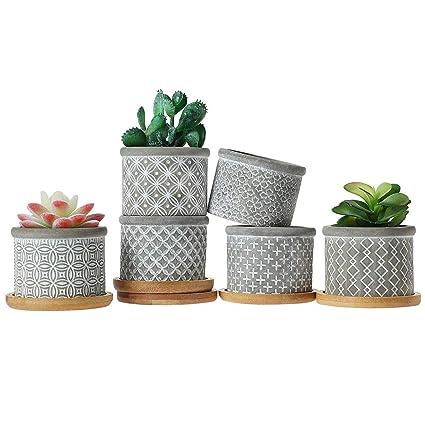 T4u 6cm Succulent Pots En Ciment Avec Plateau En Bambou Petit Jardiniere En Beton Gris Jardin Cactus Plante Herbe Conteneur Pour La Decoration De