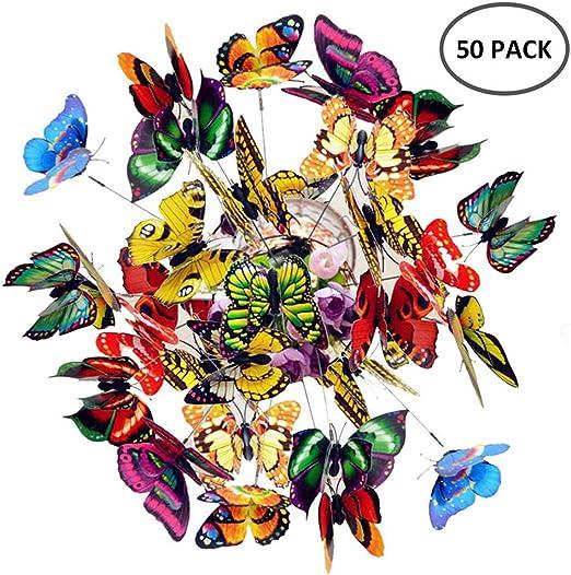 Keer 50 Piezas Coloridas Mariposas de jardín estacas decoración Adornos en Palos para Fiesta al Aire Libre jardín jardín decoración de Plantas: Amazon.es: Jardín