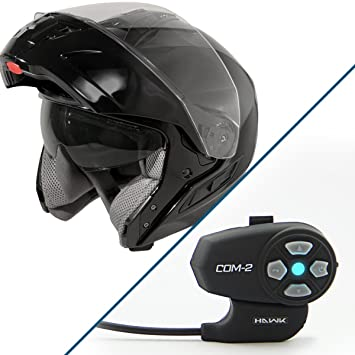 Hawk St 11121 8 GB FX casco modular negro brillante con Hawk COM-2 Bluetooth