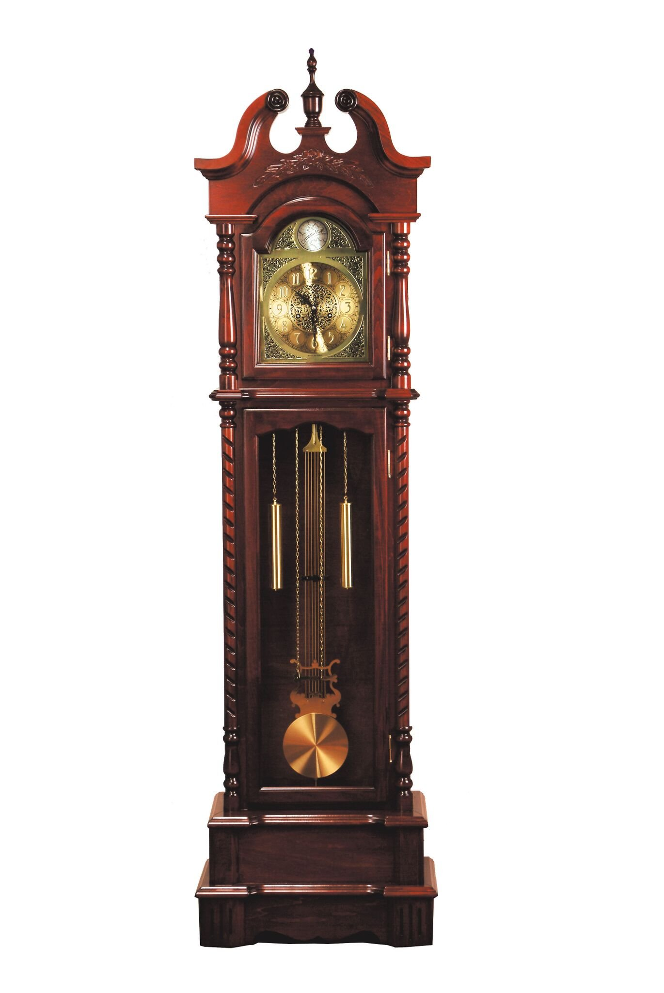 Major-Q 9001431 77'' H Traditional Style Light Gold Analog Face Walnut Finish Grandfather Floor Clock