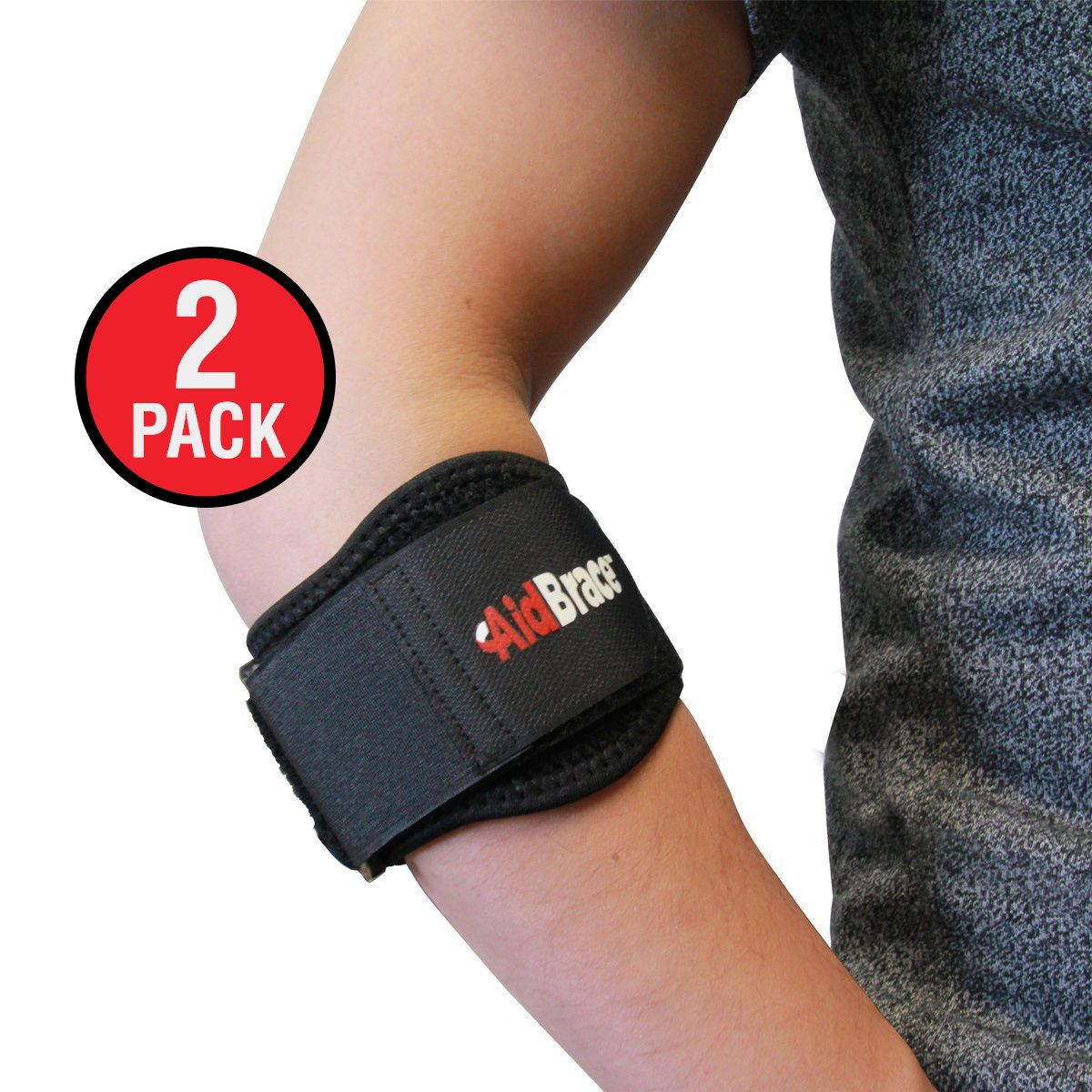 AidBrace Tennis and Golfers Elbow Support Brace (PAIR), with Padded Gel Pad for Compression, Helps with Muscle and Joint Pain Relief