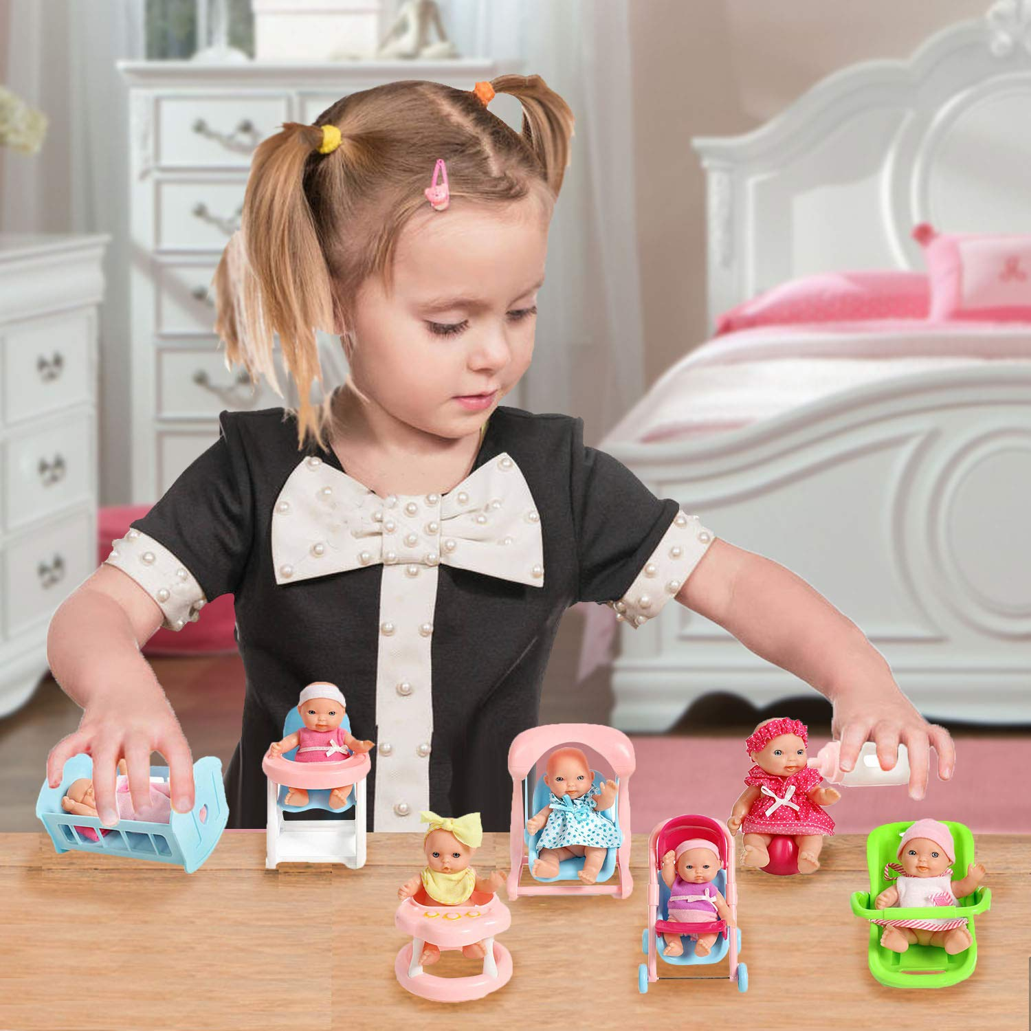 Mommy /& Me Doll Collection Swing Bath Stroller Crib Potty High Chair Car Seat Set Of 8 Assorted 5 Mini Dolls