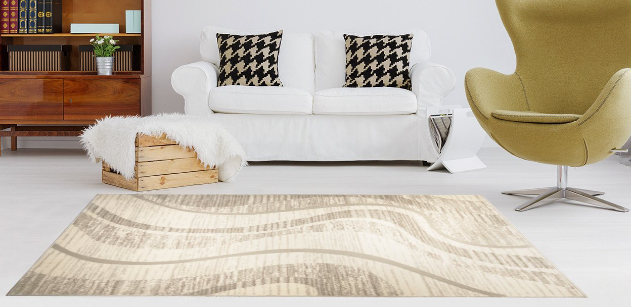 ADGO Atlantic Collection Abstract Belgian Wave Lines Area Rug, Living Dining Room Ivory Beige, 6 x 9