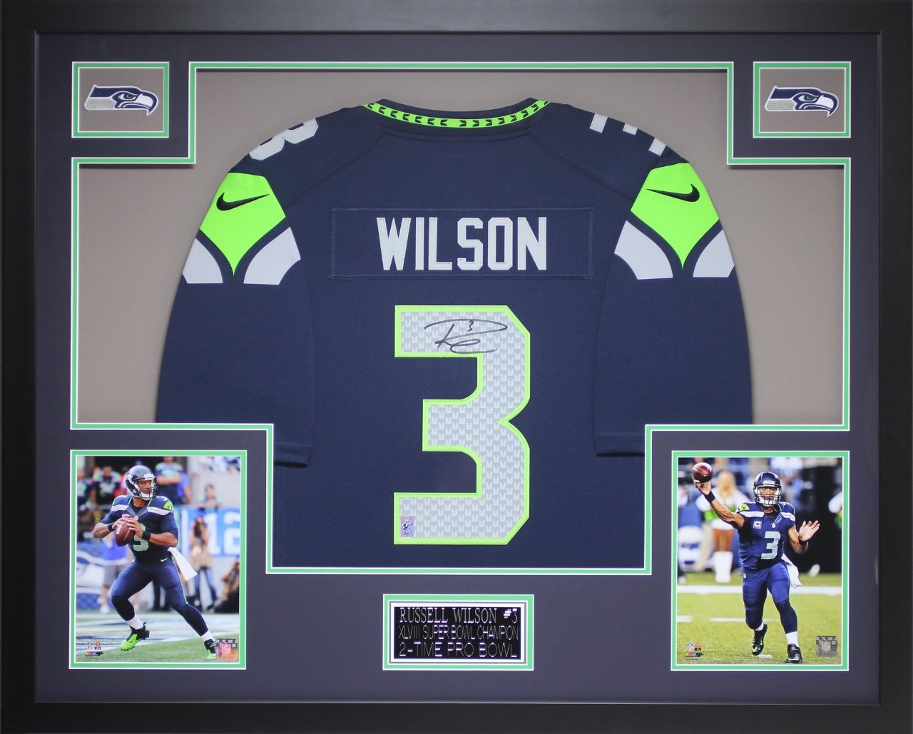 new product 784a9 5c14e Russell Wilson Autographed Blue Seahawks Jersey ...
