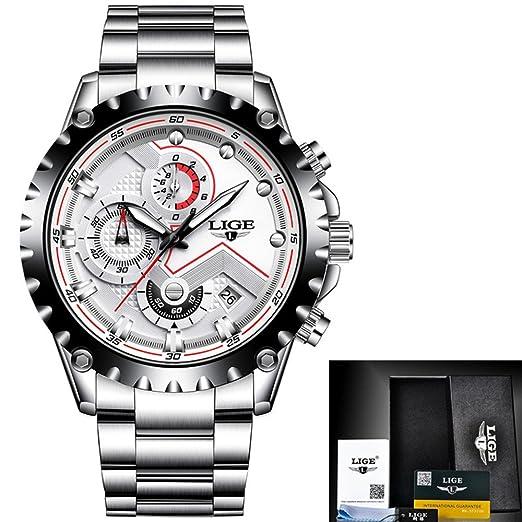 Reloj lujo los hombres Marca moda Relojes cuarzo Reloj deportivo acero multifuncional acero lleno los hombres Relogio Masculino, Blanco, Acero Cumpleaños ...