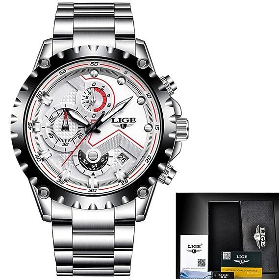 Reloj lujo los hombres la marca moda cuarzo Relojes acero múltiples funciones acero militar reloj pulsera Relogio Masculino, blanco, cuero Día la madre ...