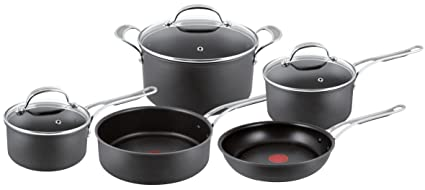 Tefal Jamie Oliver Hard Anodised Premium Series - 5 Piece Cookware Set,  Black