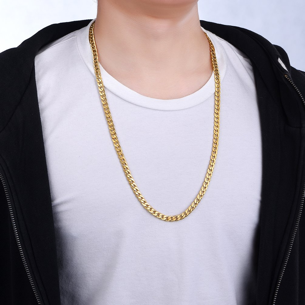 Send Gift Box 18 20 22 24 26 28 30 925 Sterling Silver//Gold Plated//Stainless Steel- PROSTEEL Men 2.8//5// 7MM Curb Cuban Chain Necklace