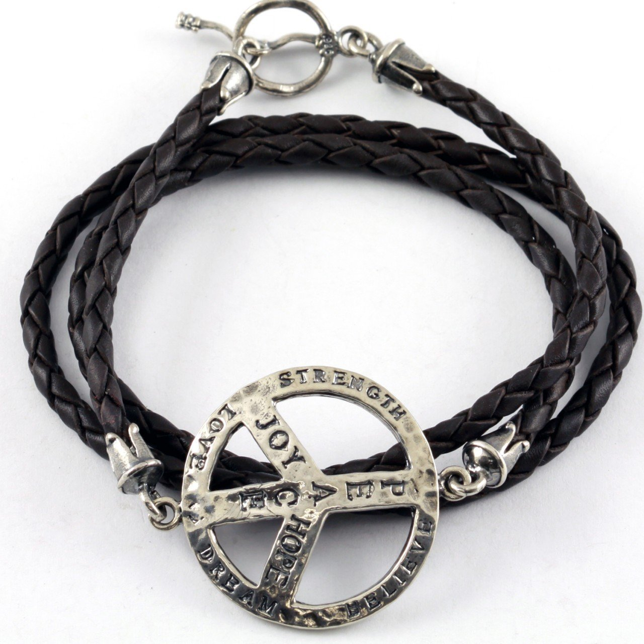 Silver Peace Sign Triple Wrap Leather Bracelet
