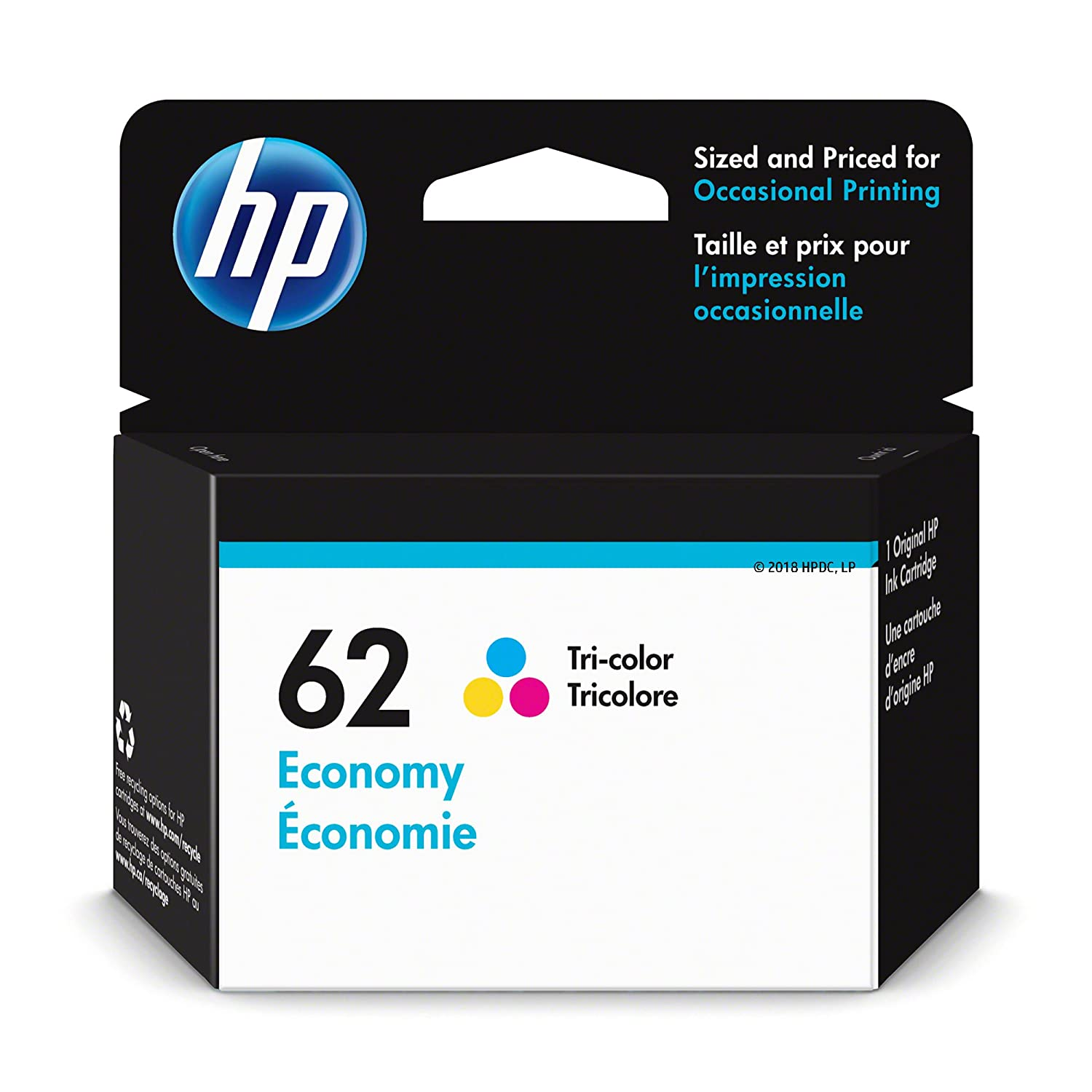 HP 62 Ink Cartridge Tri-Color Economy (1VV42AN) for HP Envy 5540 5541 5542 5543 5544 5545 5547 5548 5549 5640 5642 5643 5644 5660 5661 5663 5664 5665 7640 7643 7644 7645 HP Officejet 200 250 258…