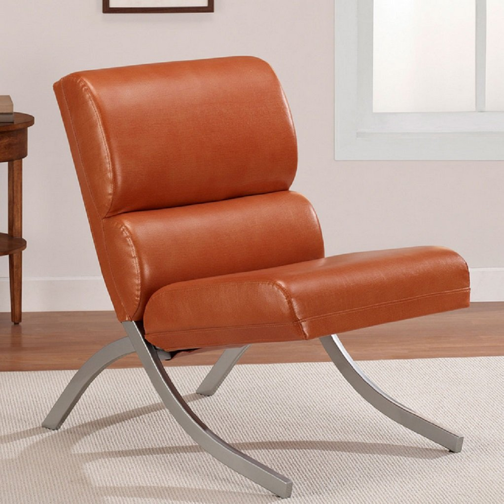 Amazon.com: Rust Colored, Faux Leather Accent Chair, Beautiful Modern  Waiting Or Living Room Side Chairs With Brushed Silver Finish: Kitchen U0026  Dining