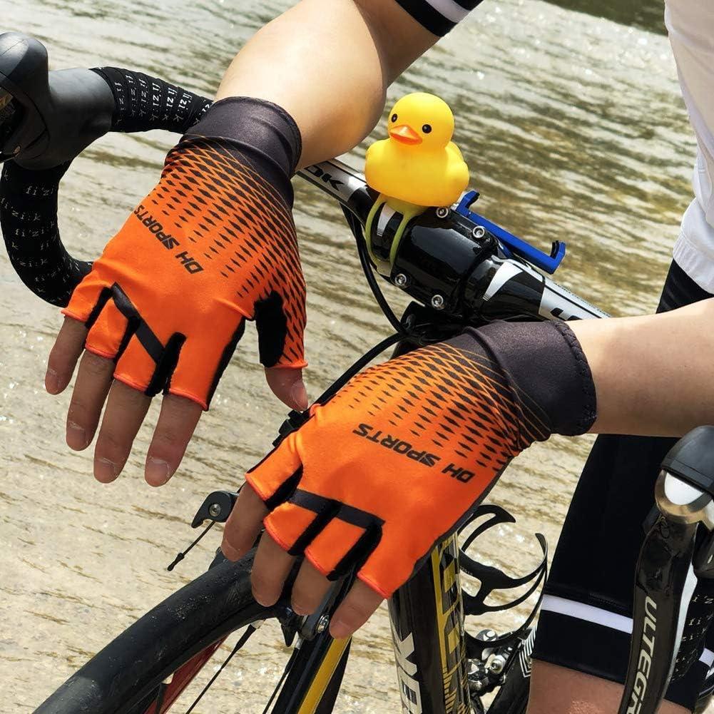 BLLJQ Guanti Ciclismo Bici Guanti Mezze Dita 1 Pair Arancione Antiscivolo Traspirante Guanti Mezze Dita da Ciclista per Uomo Donna,M