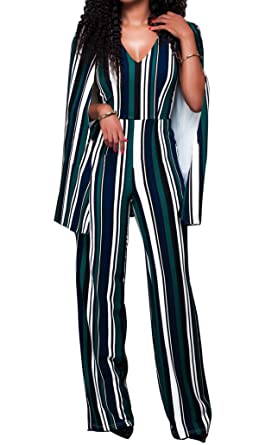 162632ef9a3d Lovaru Women s Fashion Striped Cape High Waist Flared Palazzo Bell Bottom  Jumpsuit