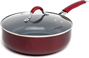 Cooking Light Allure Non-Stick Ceramic Cookware No-Warp, Deep Cooker, Multipurpose Use, Silicone Stay Cool Handle, Easy Clean, 4 Quart, Red