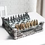 "16.25"" Roman Gladiators 3D Chess Set, Bronze & Silver Color"