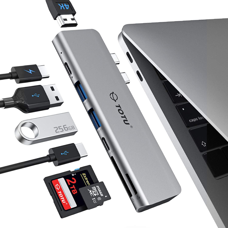 TOTU MacBook Pro USB Adapter, 7-in-1 MacBook Pro USB C HUB to 4K HDMI,Thunderbolt 3 100W PD 40Gbps 5K@60Hz,USB C 3.0,2xUSB 3.0,5Gbps SD TF Card Reader for MacBook Pro 2018 2017 2016, MacBook Air 2018 by TOTU