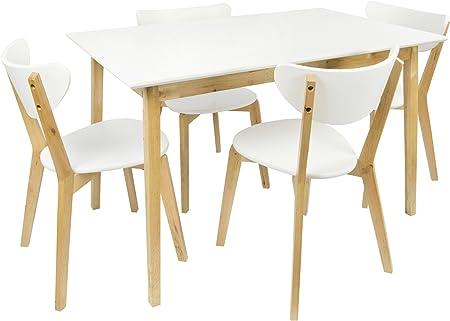 amazone table en bois blanc et chaises
